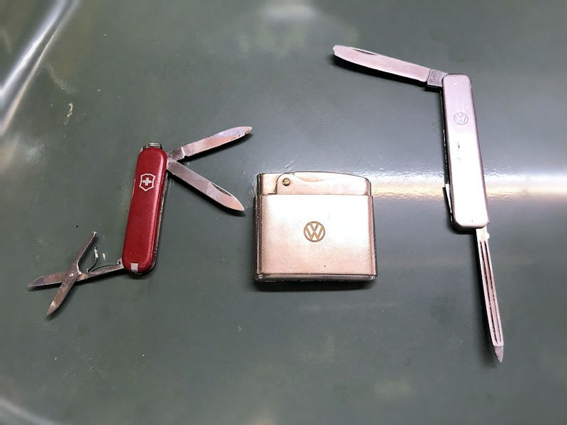 Vintage VW collectable Swiss army knives and lighter