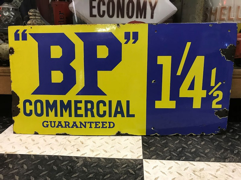 English enamel BP Commercial Guaranteed sign