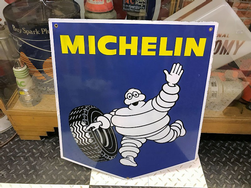Double sided enamel Michelin shield shape sign