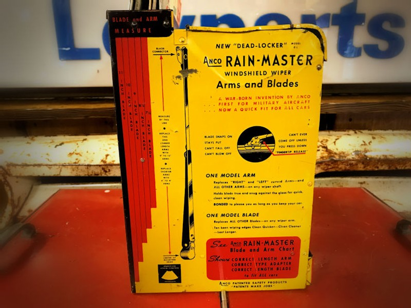 1950s Anco Rainmaster Wiper Blades and Arms counter or wall mounted display cabinet