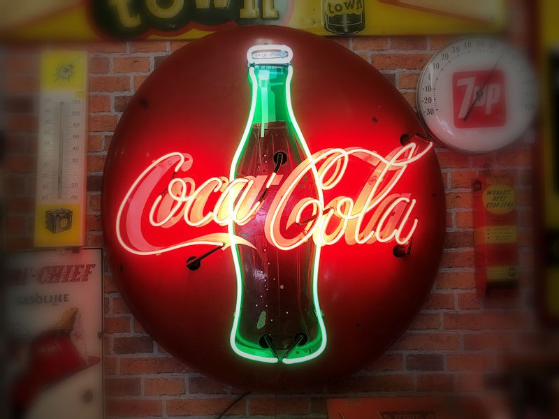 Original 1950s 36 inch enamel Coca Cola button with neon