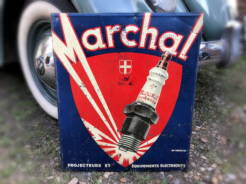 Embossed tin Marchal sign