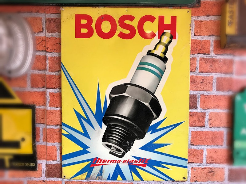 1960s Bosch spark plug thermoplastic lithographic tin sign
