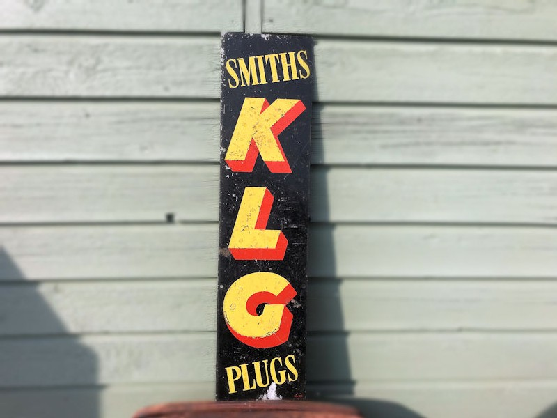 Original painted tin Smiths KLG spark plugs sign
