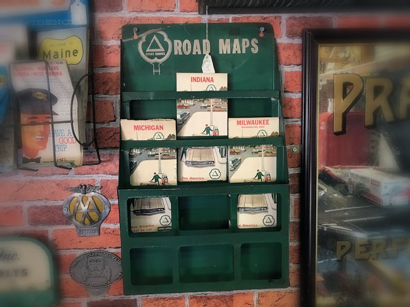 1950s Cities gas station map display and maps