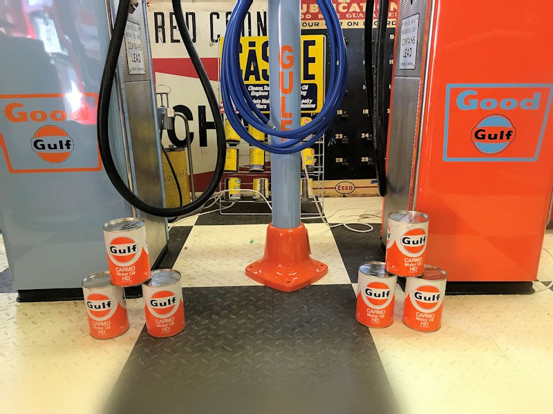 Original 1960s refurbished Gulf gas/petrol pumps and Gulf themed original Eco air meter
