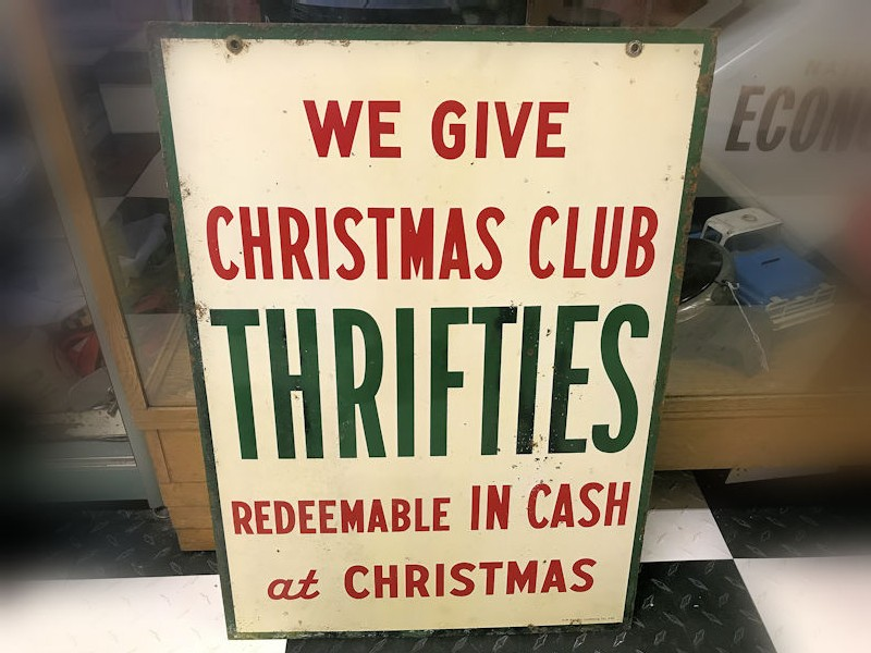 1954 double sided tin Sinclair Gas Station Christmas Club sign