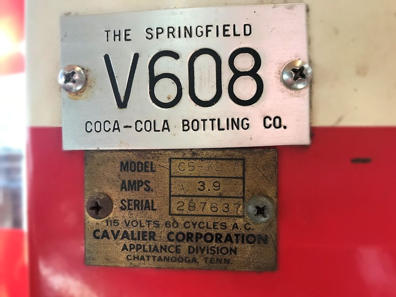 All original Cavalier 72A Coca Cola machine