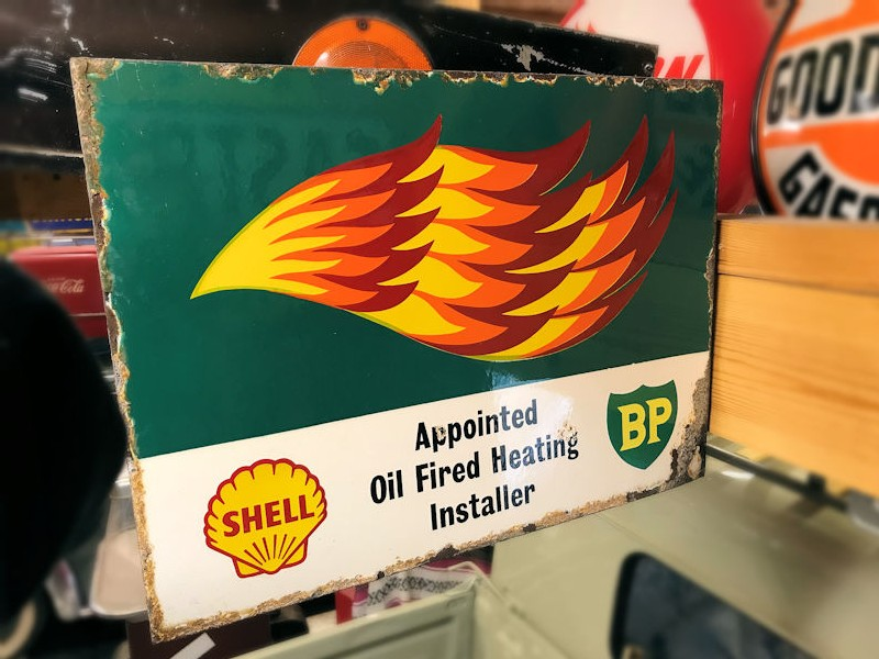 Double sided enamel Shell BP flame flange sign