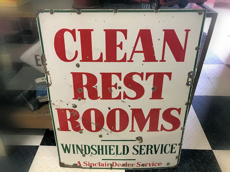 1950s Double sided enamel Sinclair Gas Station Restroom sign