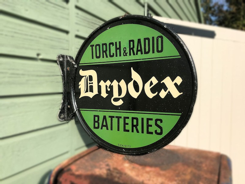 Original double sided painted tin Drydex and Exide radio and torch battery flange sign