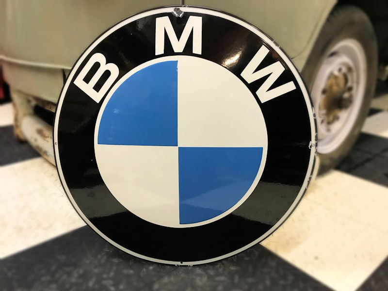 Original BMW logo enamel sign