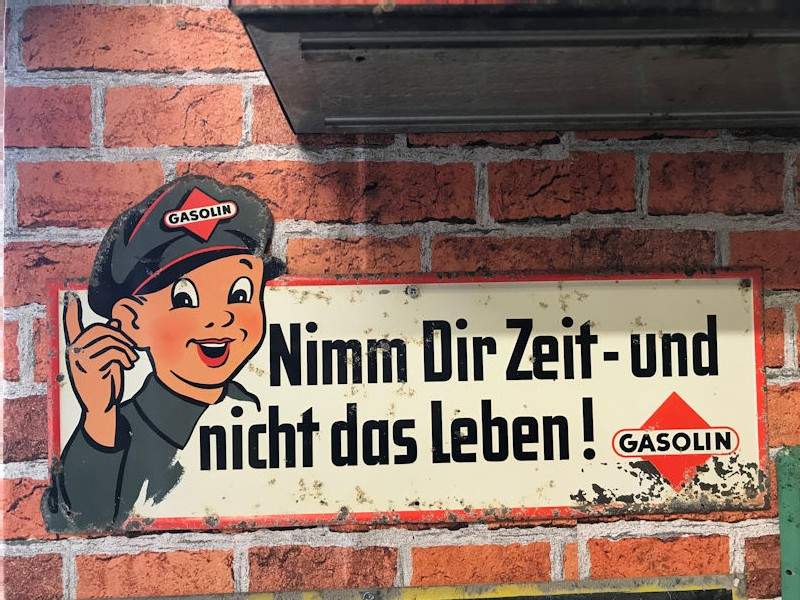 German Gasolin litho warning sign