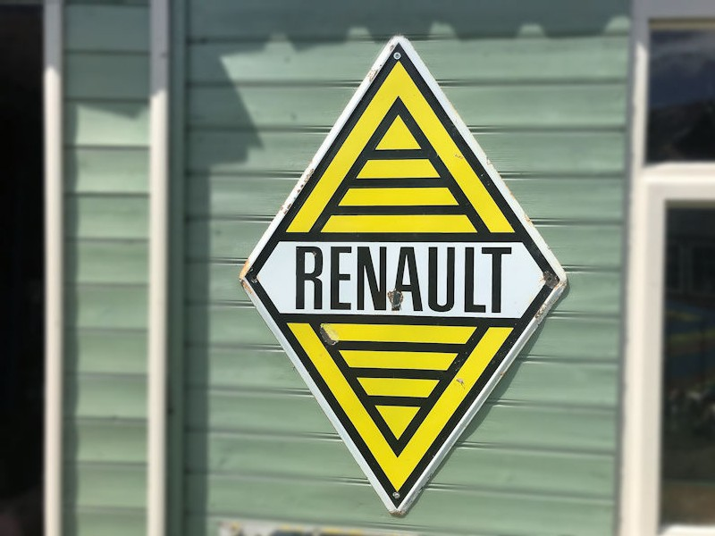 Original enamel porcelain Renault dealership sign