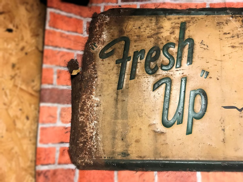 Original Fresh Up 7 Up embossed tin sign