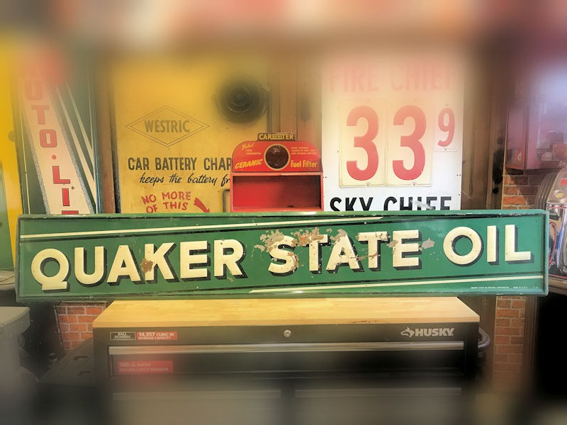 1950s embossed tin Quaker State Oil sign