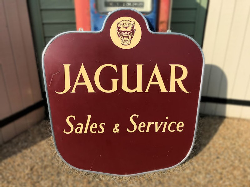 Original painted tin Jaguar sign