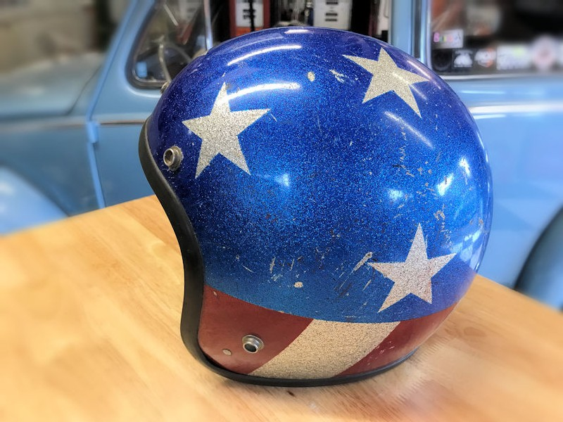 1968 Easy Rider Captain America style crash helmet