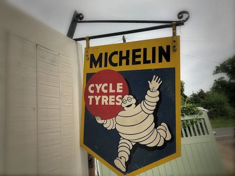 Original double sided tin Michelin cycle tyres sign