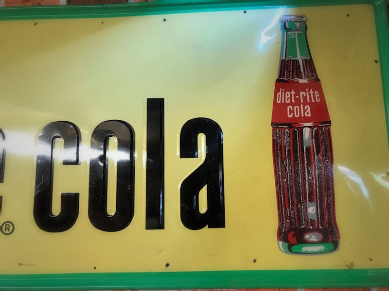 1960s embossed tin Sugar Free Diet Rite Cola sign