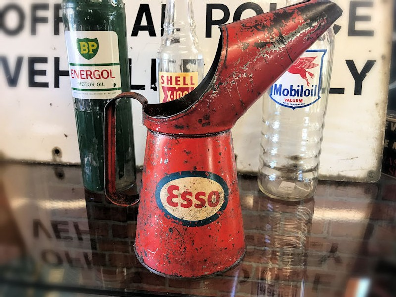 All original metal Esso oil pourer