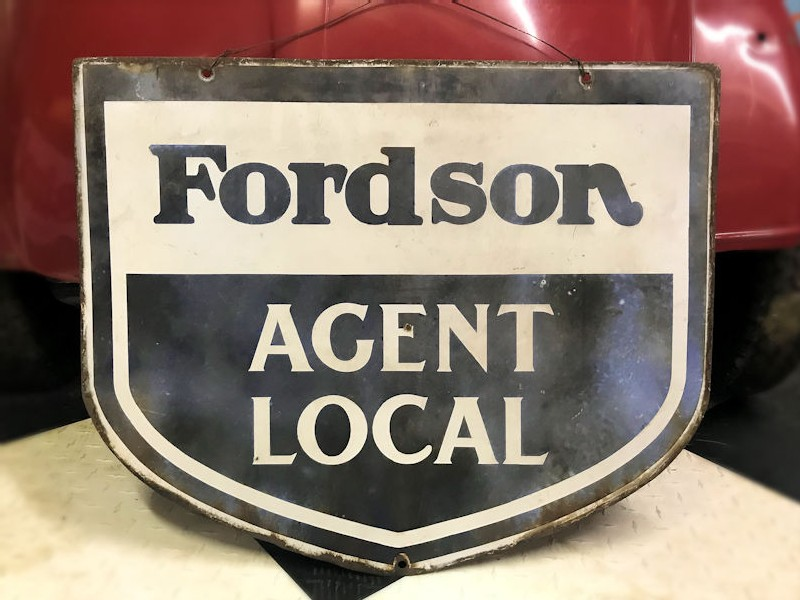 Rare 1950s double sided enamel Fordson tractor sign