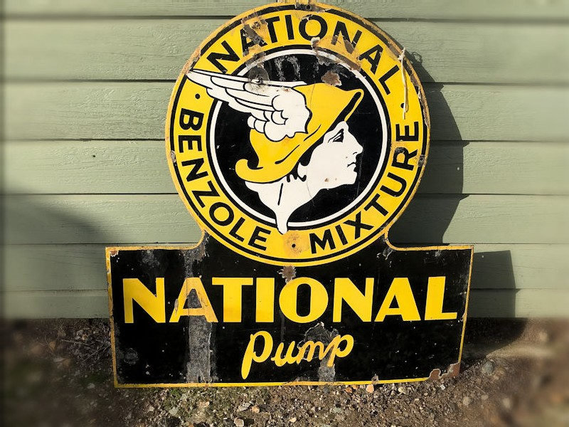 Original enamel National Benzole sign