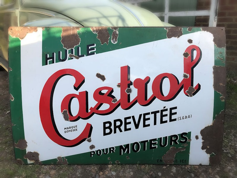 Enamel Castrol patented oil for motors sign