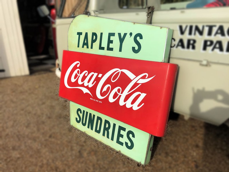 Original double sided enamel Tapleys Sundries grocery store Coca Cola sign