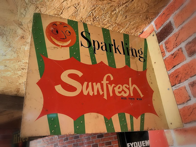 1960s double sided Sparkling Sunfresh tin flange sign