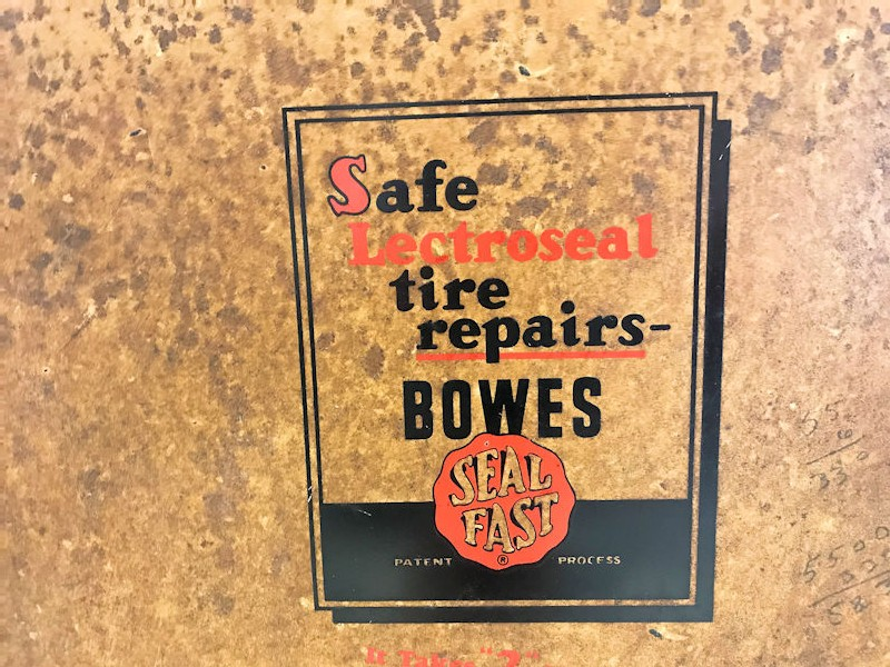 Vintage Bowes tire repair counter display