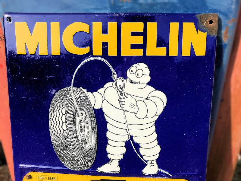 Original 1968 enamel Michelin lorry tyre gauge sign