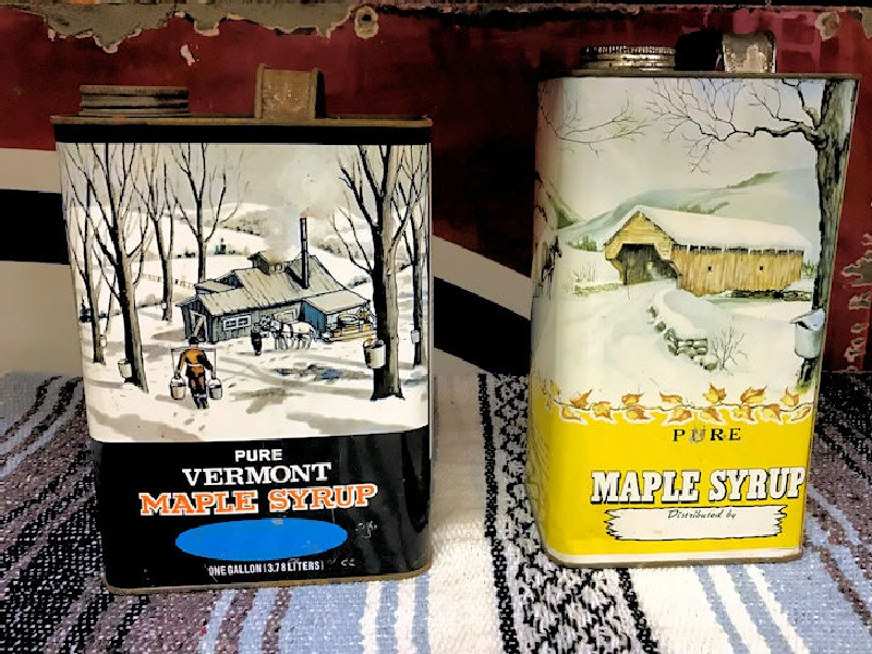 Vintage maple syrup cans