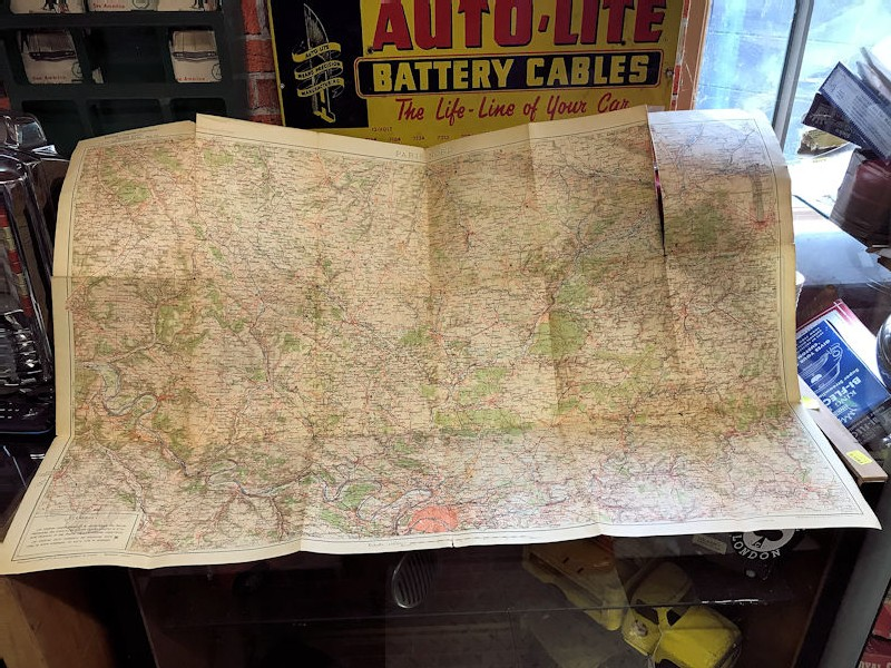1930 vintage Shell map
