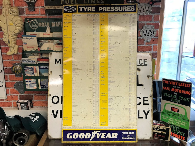 Printed tin Goodyear tyre pressures chart