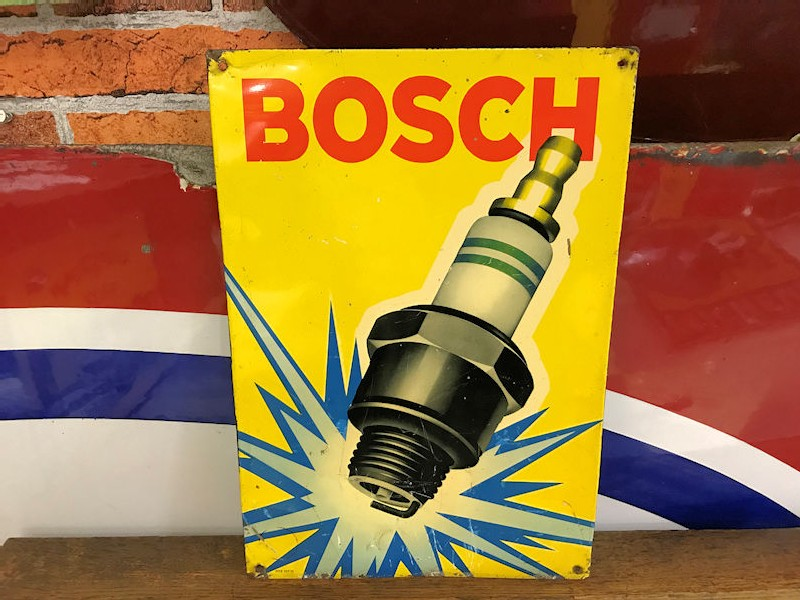 Bosch spark plug themed tin sign