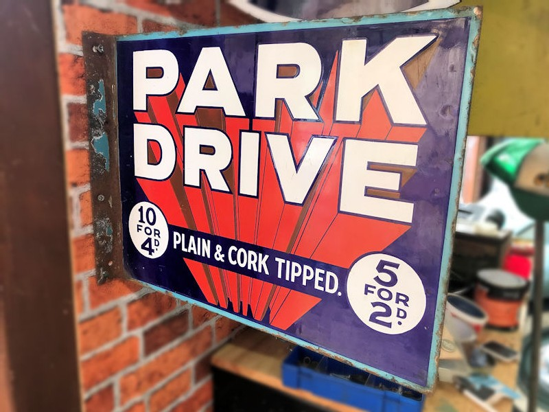 Original vintage double sided Park Drive Plain and Cork Tipped cigarette enamel flange sign