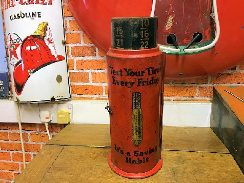 Rare original 1930s Schrader Tire Gauge counter display
