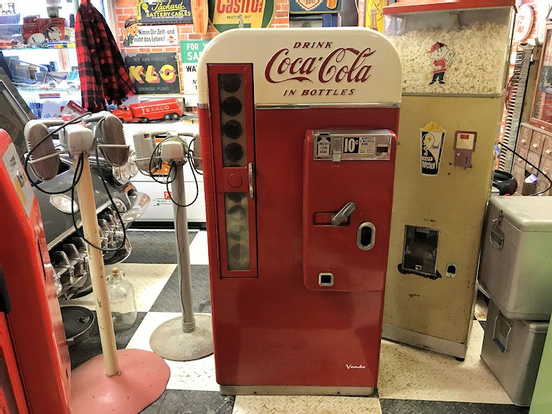 Older restored 1956 Vendo 81 D Coca Cola vending machine