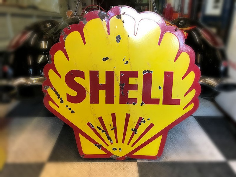 Double sided enamel Shell clam shell sign